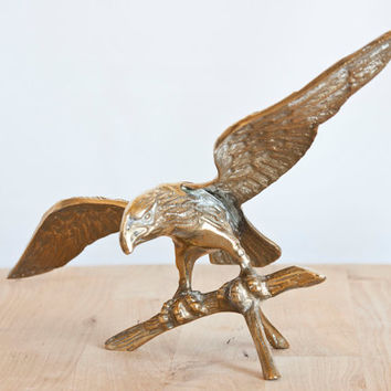 Vintage Solid Brass Flying Eagle, Bird of Prey Statue, Americana, Woodland Cabin Decor