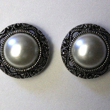 Magnetic Antique Style Pearl Button Earrings