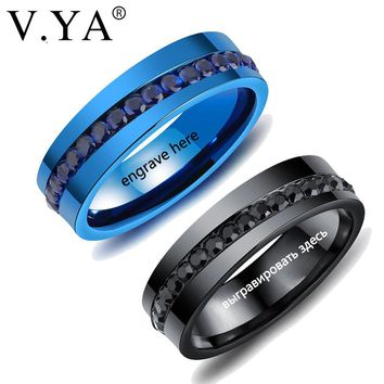 V.YA 2018 New Fashion Men Rings Black Gold Blue Color Punk Rock Custom Rings Stainless Steel Man Wedding Jewelry Rings Drop Ship