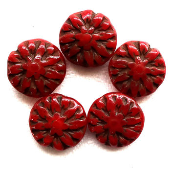 Five Czech glass Dahlia flower beads, 14mm Opaque Red Picasso floral beads C00105