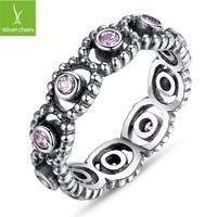 European Retro Authentic 925 sterling Silver Ring With Crystal Compatible With European Fit Original Pandora Jewelry