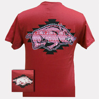 New Arkansas Razorbacks Aztec Hogs Logo Girlie Bright T Shirt