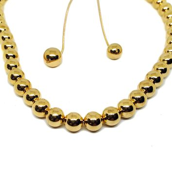 (1-6467-h6) Gold Overlay Beaded Necklace with Adjustable Bolo Tie System.