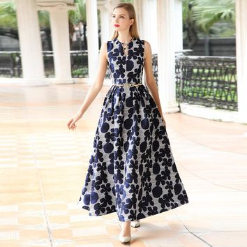 2018 new arrival high quality summer women dress Elegant floral Jacquard sleeveless Dress V-neck Vest Long maxi Dress Vestidos