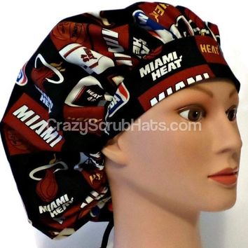Women's Bouffant, Pixie, or Ponytail Surgical Scrub Hat Cap in Miami Heat