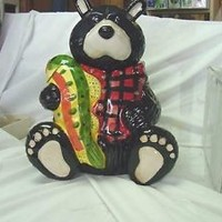 COOKIE JAR BLACK & WHITE BEAR RED PLAID VEST HOLDING FISH GREAT FOR CABIN RUSTIC