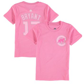 Majestic Kris Bryant Chicago Cubs Girls Youth Pink Player Name & Number T-Shirt