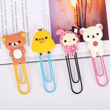 VONC1Y 1 Pcs Metal Paper Clip Cute Bear Metal Bookmarks Stationery Office Accessories School Decoration Supplies