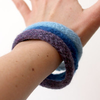 3 Wool Bracelets, Felted Wool Bangles, Colorful Bracelets, Soft Jewelry, Felted Bangles, Stacking Bracelets, Natural Wool Jewelry