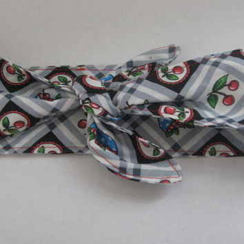 Hair wrap, Cherries,  Rockabilly, Pin-up Vintage, Retro Style, Head scarf, Wrap Tie, hair bandana , hair accessories, Women and Teens  #221