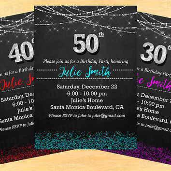 50th Birthday Invitation Invitations 30th Woman 40th