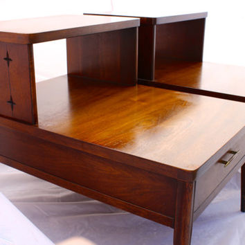Mid Century Modern Walnut END TABLES Starburst design on sides Two Tier End tables with Drawer