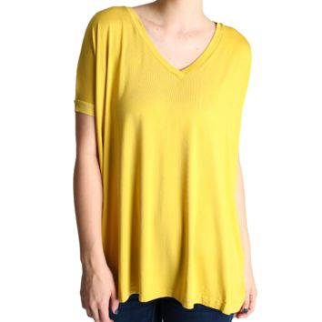 Authentic Piko V-Neck Wide Sleeve, Mustard