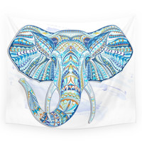 Society6 Blue Ethnic Elephant Wall Tapestry