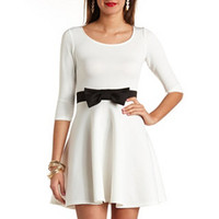 COLOR BLOCK BOW-BELT SKATER DRESS
