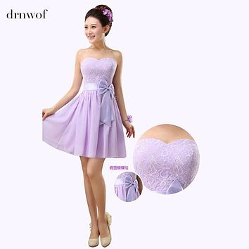 2017 New Lace Bridesmaid Dresses Short Mini Off Shoulder Women Dress Fit Junior Customize Plus Size Color Lavender Champagne