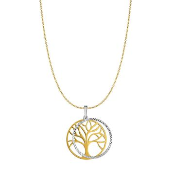 """14k Yellow Gold Double Tree Of Life Charm Necklace, 18"""""""