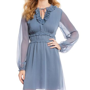 CeCe Cinched Waist Poet Sleeve Tie Detail Ruffled Dress | Dillards
