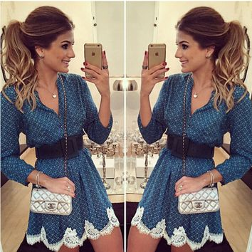 Blue Lace Patterned Sleeve Dress (not with Belt)