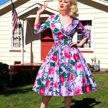 Pinup Couture Birdie Dress with Three-Quarter Sleeves in Lavender and Pink Floral Print
