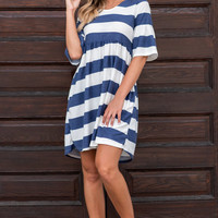 Off To Anywhere Dress, Off White-Navy