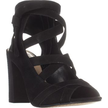 Vince Camuto Sammson Peep Toe Strappy Dress Sandals, Black, 5 US