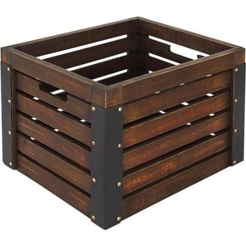 Better Homes and Gardens Wooden Milk Crate, Brown - Walmart.com