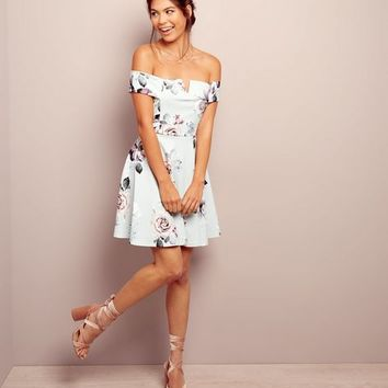 Grey Floral Print Bardot Neck Skater Dress