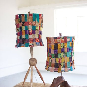 Tripod Lamp with Recycled Woven Kantha Fabric Shade