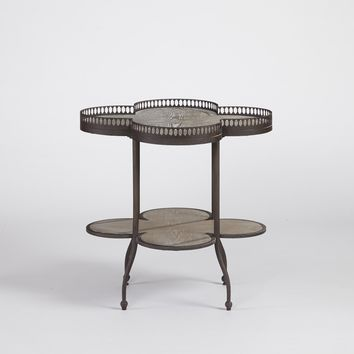Clementine Casual Scalloped End Table Armor Gray/ Bisque