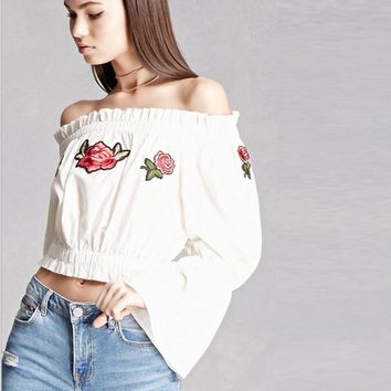 Fashion sexy off shoulder embroidery flower Hubble-bubble sleeve long sleeve T-shirt