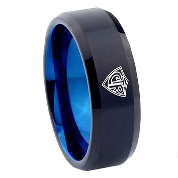 8mm CTR Design Bevel Tungsten Carbide Blue Men's Wedding Ring