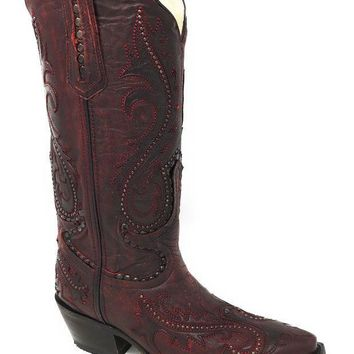 ICIKAB3 Corral Women's Red Overlay and Studs Snip Toe Boots G1401