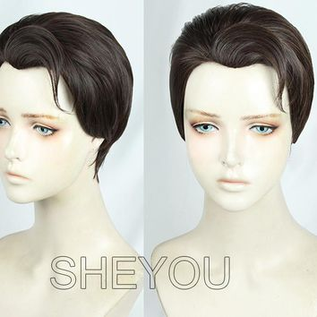 Anime Detroit Become Human Connor Wig Styled Dark Brown Cosplay Costume Wig + Wig Cap + Track No.