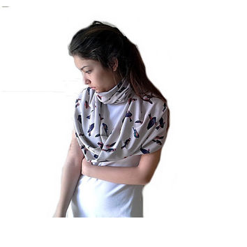 Beige Cirle scarf,  Birds pattern Silky Fabric Infinity scarf, scarves