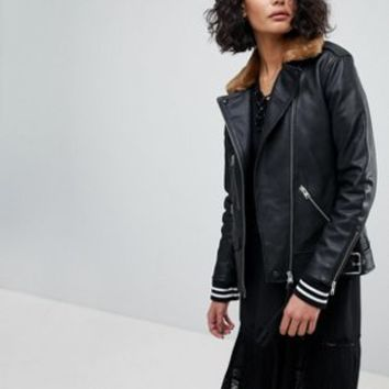 AllSaints Oversized Leather Jacket with Faux Fur Collar at asos.com