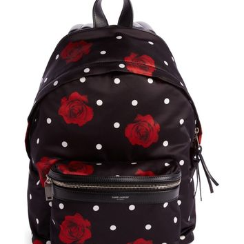 Saint Laurent City Mini Rose Print Satin Backpack | Nordstrom