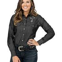 Cowgirl Hardware Women's Black Denim with Rhinestone Cross Long Sleeve Western Shirt