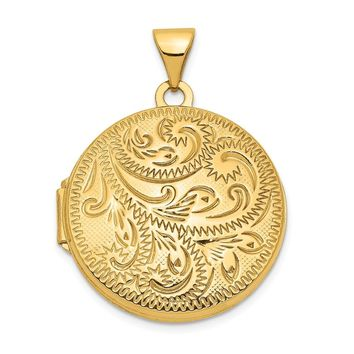 14K Yellow Gold 20mm Round Fully Scroll Hand Engraved Locket