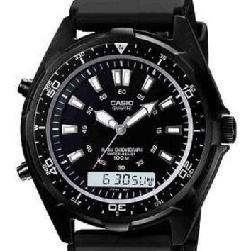 Men's Casio Analog-Digital Dive Style Stainless Steel Watch