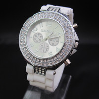 Women's White 3-Dial Geneva Watch
