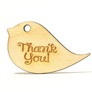 Wooden Country Rustic Bird Wedding Favor Gift Tags, Thank You Card, Wedding Party Laser Engraved Favors