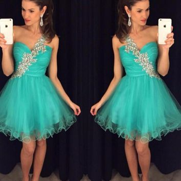 Turquoise Short Prom Dresses  2017 Party Homecoming Cocktail Gown A Line One Shoulder Beads Crystals Graduation Dress Cheap