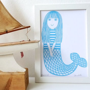 New Blue Mermaid Screen Print by Jane Foster