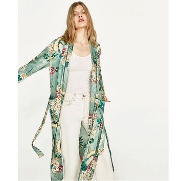New Vintage Pareo Retro Floral Print Green Long Kimono Jacket Long Sleeve Cardigan Maxi Shawl Summer Tops Belted Beachwear