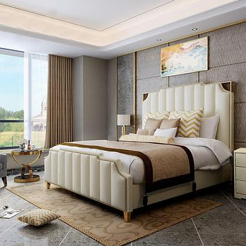 Post-Modern Light Luxury Simple Leather Bed For Bedroom Furniture