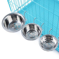 Hanging Stainless Steel Dog Cage Bowl Removable Pet Cat Drink Food Dish  S  M L Sizes Avaliable