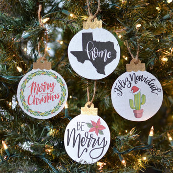Set of 4 Handmade Paper Ornaments - Calligraphy Ornaments - Holiday Ornaments - Festive Cactus - Christmas Wreath - Poinsettia Flower -Texas