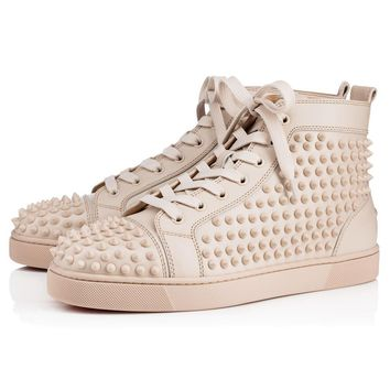 Sale Christian Louboutin Cl Louis Spikes Men's Flat Colombe/colombe Mat Leather 09w Shoes 1101083f179