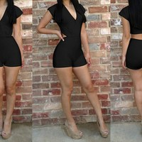 Womens Black Deep V Neck Short Sleeve Bodycon Romper Jumpsuit